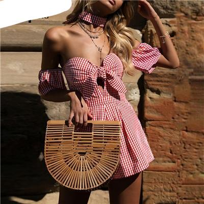 2018 Summer Off shoulder plaid jumpsuit romper women Sexy backless bow high waist playsuit female beach short overalls-cigauy