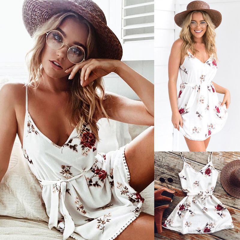 2017 New Women Summer Chiffon Casual Sleeveless Night Party Beach Short Mini Floral Jumpsuit Playsuit-cigauy