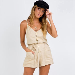 Cotton Army Green Playsuits Women With Buttons Spaghetti Strap Summer Clothes Sexy Backless Playsuits Women Rompers With Pockets-cigauy