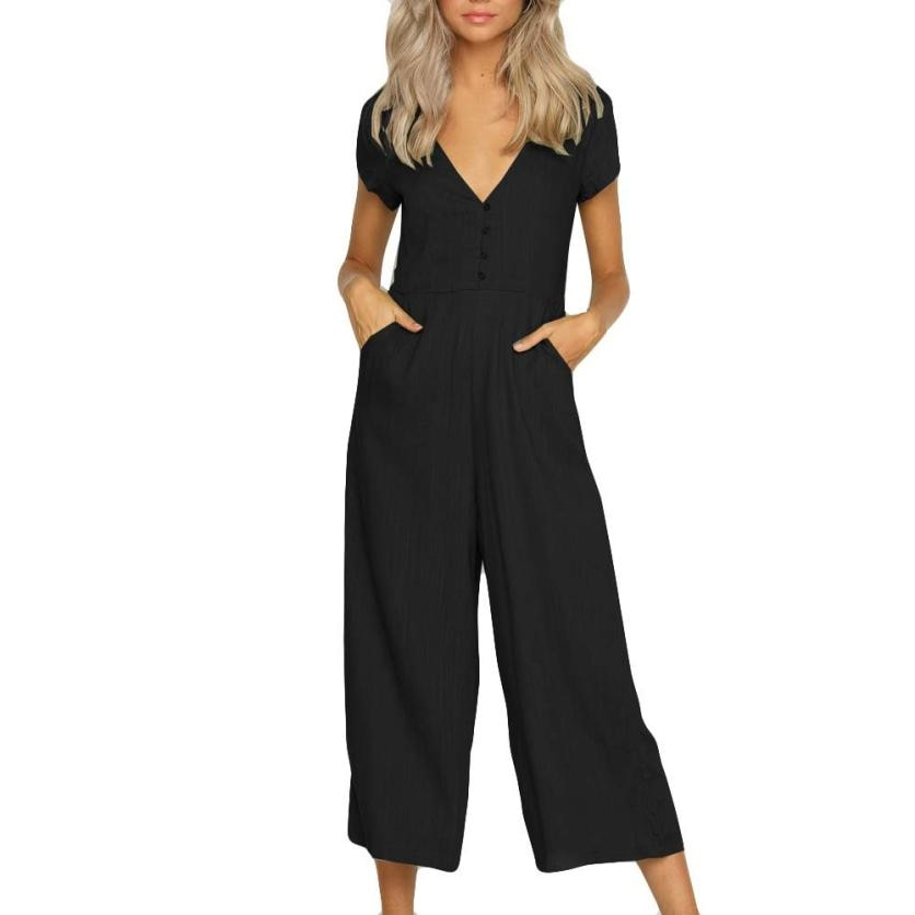 #4 2018 NEW Fashion Womens V Neck Jumpsuit Summer Short Sleeve Wide Leg Pant Clubwear Playsuit-cigauy