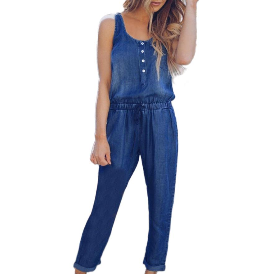 #4 2018 NEW Fashion Womens Holiday Playsuit Jeans Demin Elastic Waist Strappy Long Beach Jumpsuit-cigauy