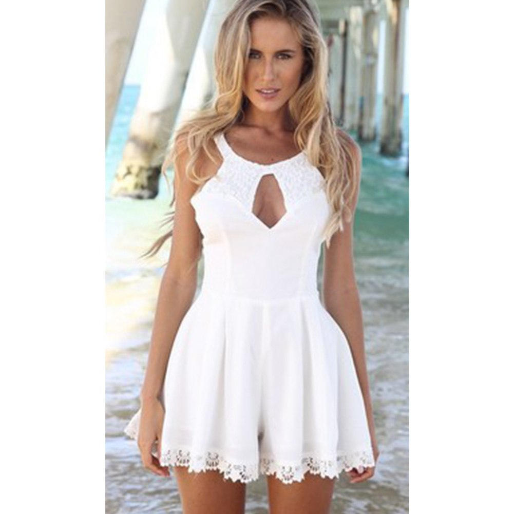 2018 Fashion Summer Women Cut Out Lace Playsuit Sleeveless Jumpsuits feminino vestidos female overalls Clothing-cigauy