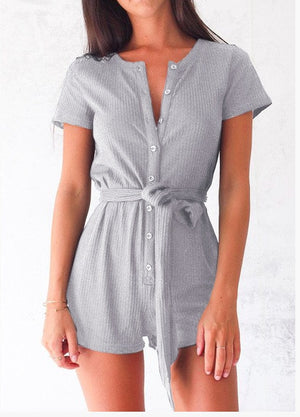 ForeFair Front Buttons Casual Knitted Playsuit Womens Sexy Summer Rompers Autumn 2018 Ladies Casual Jumpsuit Shorts-cigauy