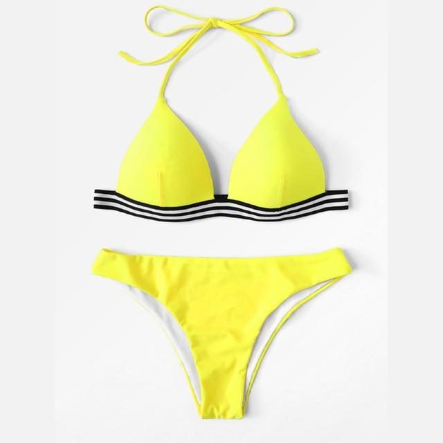 Bikini 2018 Mujer Swimwear Women Summer Thong Triangle Strap Two Pieces Bikinis Set High Leg Swimsuit Sexy Brazilian Beachwear-cigauy