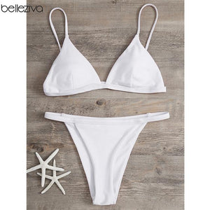 Belleziva Bikini Set Summer Low Waist Swimwear Women Sexy Beach Swimsuit Bathing Suit Push Up Spaghetti Strap Maillot De Bain-cigauy