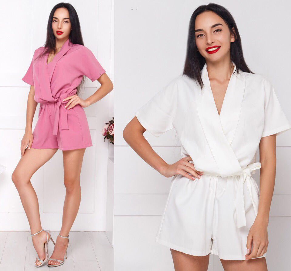 2018 Summer Women New Fashion Ladies Overalls Solid Belt Casual V-neck Jumpsuit Party loose Rompers Elegant Female Playsuits-cigauy