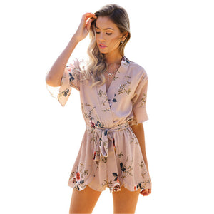 SIMIN 2018 New Women's Fashion Pajama Style Jumpsuits Casual Belt Flower Print Bohemian Playsuits Ruffle Sleeve V Neck Rompers-cigauy