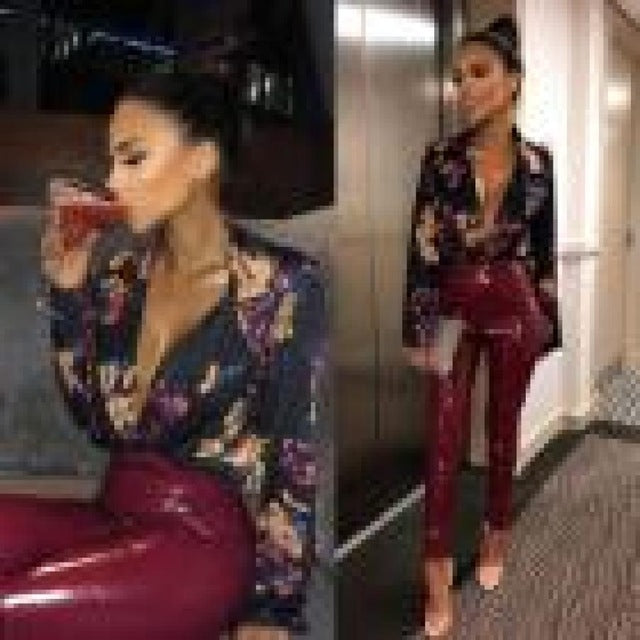 Women sexy deep V neck floral print bodysuit shirt cross long sleeve elastic waist blouse wrap overal romper bodysuit casual top-cigauy