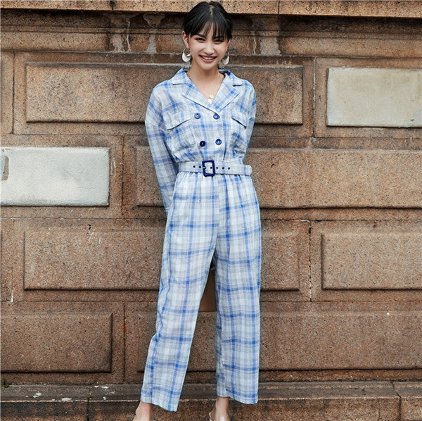 Fashion Women's Jumpsuits Plaid Check Linen Wide Leg Pants Double Breasted Button England Jumpsuit Rompers Belted M18090101-cigauy