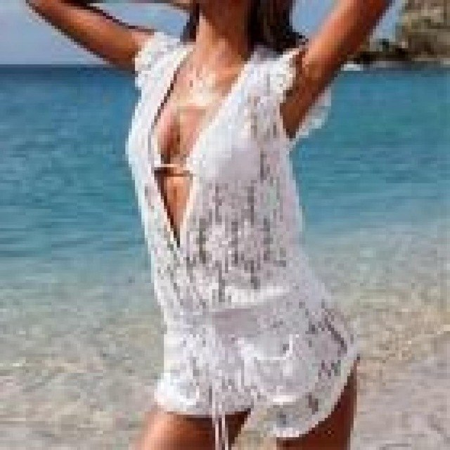 Womens Lace Holiday Mini Playsuit Ladies Summer Beach Jumpsuit Bikini Cover All match Beach Overalls Femme Sexy Women Bodysuits-cigauy