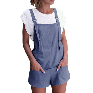 Women Elastic Waist Dungarees Linen Cotton Pockets Rompers Playsuit Strap Shorts Pants #1-cigauy