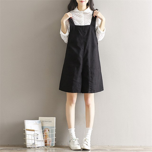 Japan Style Summer Women Playsuits Black Cotton Linen Belt Overalls Casual Loose Mori Girl Vintage Shorts With Pocket-cigauy