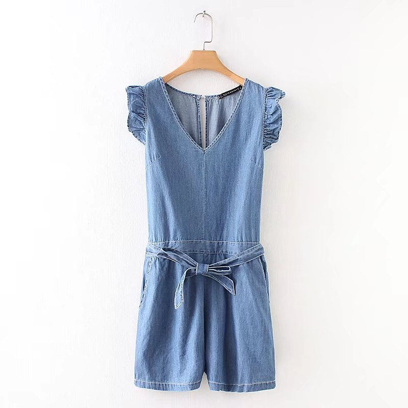 2018 New Women vintage backless ruffles sleeveless denim jumpsuits short pants lady bowknot sashes rompers playsuits tops DS739-cigauy