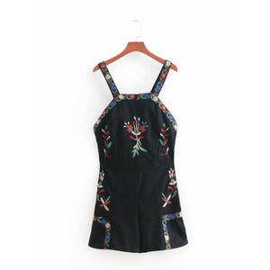 2018 summer vintage embroidery sling conjoined shorts fashion women black backless jumpsuits casual lady siamese pants P526-cigauy