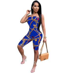 New Off The Shoulder Sexy Bodycon Jumpsuit Women Strapless Chain Print Skinny Catsuit Summer Backless Party Club Romper CM160-cigauy
