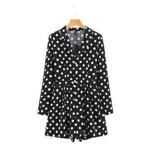 Casual Women Shorts Suit Lapels Black Polka-dot Long-sleeved Waist Pleated Decorative Single-breasted 2018 Casual Trend Jumpsuit-cigauy