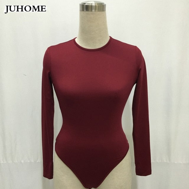 2018 autumn winter Hot sale Fashion long sleeve Body Top Womens Sexy Bodysuit Black White red Shorts Jumpsuit Combinaison Femme-cigauy