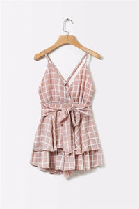 yinlinhe Plaid Ruffles Rompers Women Jumpsuit 2018 Sexy Jumpsuit Short Summer Slim Bodycon Playsuit Bowknot Elegant overalls 341-cigauy