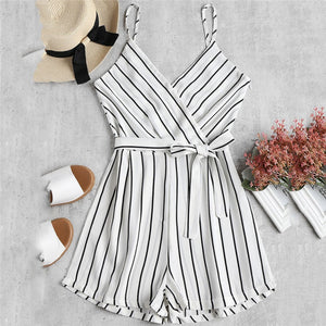 Womens Summer Fashion V-Neck Sleeveless Strappy Holiday Short Playsuits Striped Cami Belt Romper Jumpsuit Free Shipping F#L17-cigauy