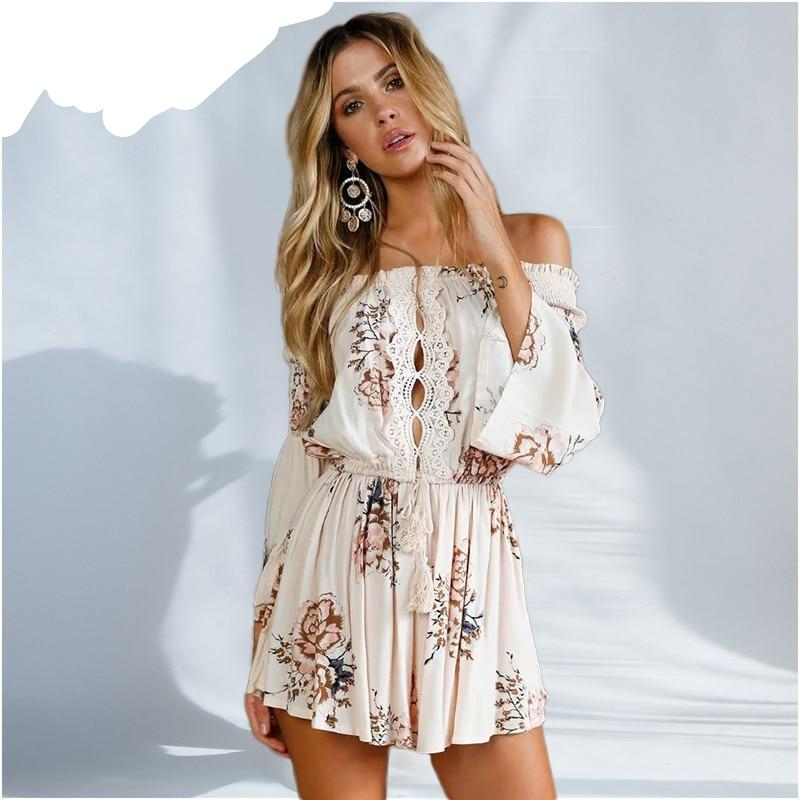 yinlinhe White Off Shoulder rompers women jumpsuit 2018 Summer Playsuit overall long sleeve Hollow Out Sexy Short Jumpsuit 245-cigauy