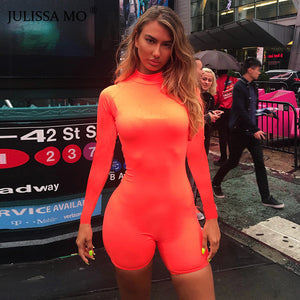 JULISSA MO Long Sleeve Women Sexy Skinny Playsuits 2018 Autumn Turtleneck Bodycon Rompers Womens Jumpsuit Solid Casual Overalls-cigauy