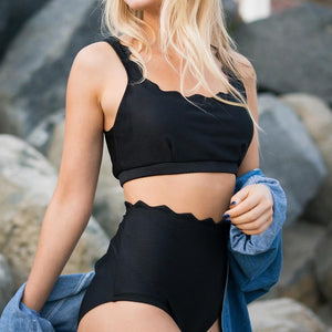 CUPSHE Black Tank High-waisted Bikini Set Women Irregular Wave Hem Two Pieces Swimwear 2018 Solid Bathing Suit Swimsuit-cigauy