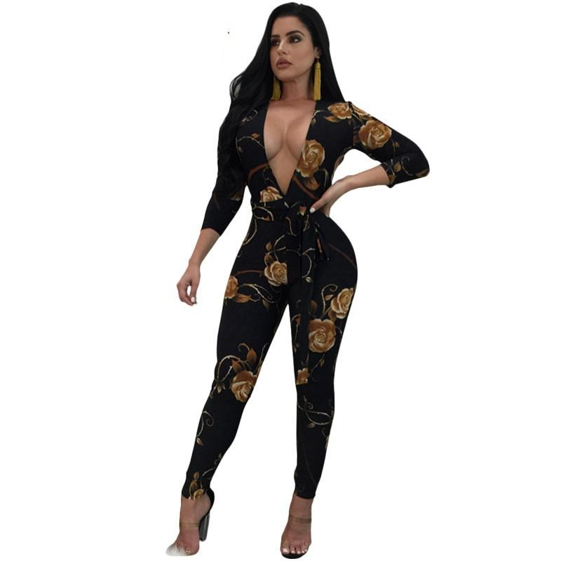 563a357c6dd44 PinePear Fashion Floral/Snakeskin Print Party Overalls 2019 Winter Women  Long Sleeve Sexy Deep V-Neck Bandage Jumpsuit with Belt