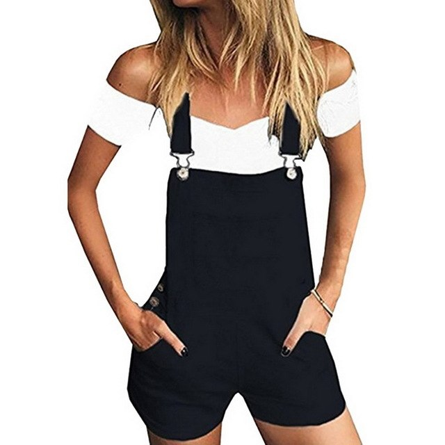Laamei Summer Autumn Women Short Denim Jumpsuit Romper Overalls Casual Jeans Shorts Playsuits Girls Fashion Slim Playsuits Z42-cigauy