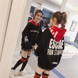 Neploe Long Sleeve Sweatshirt Letter Print Hooded Pullover Woman Fleece Tracksuit Contrast Color Patchwork Causal Pullover 36137-cigauy