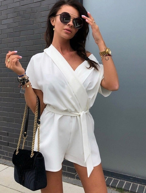 Women's Fashion Summer 2018 Loose Jumpsuits Sexy Street Shorts Rompers Ladies Casual Belt Chiffon Playsuits-cigauy