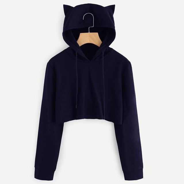 Black Cat Ear Desgin Hooded Womens Long Sleeve Hoodie Sweatshirt Cropped Hooded Jumper Tops Women Girls For Autumn Winter #1113-cigauy