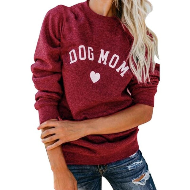Dog Mom Long Sleeve Casual Sweatshirt Women's Print Fashionable Heart-shaped Print Kawaii Sweatshirt Printing Pattern-cigauy
