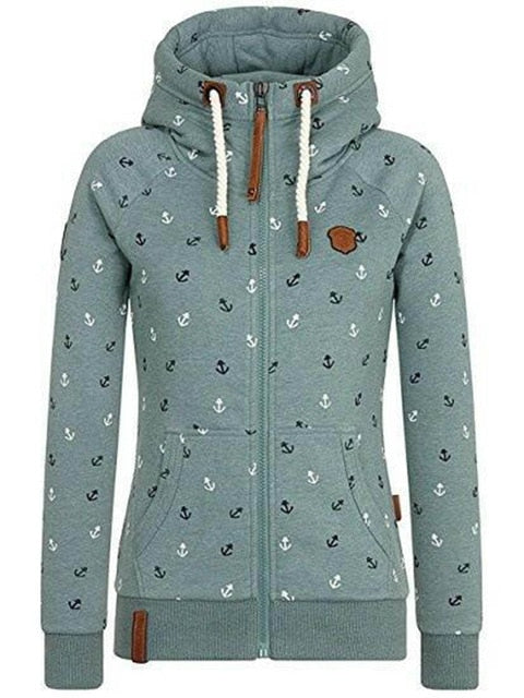 Autumn women hoodie zipper print hat high collar plus size warm jacket girl  pocket gray pink 01282afd3cac