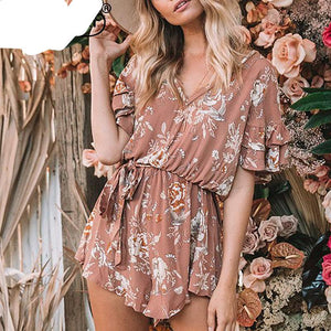 Everkaki 2018 Women Boho Floral Print Cotton Playsuits Rompers V Neck Waist Belt Tied Bohemian Rompers Playsuits Female Summer-cigauy