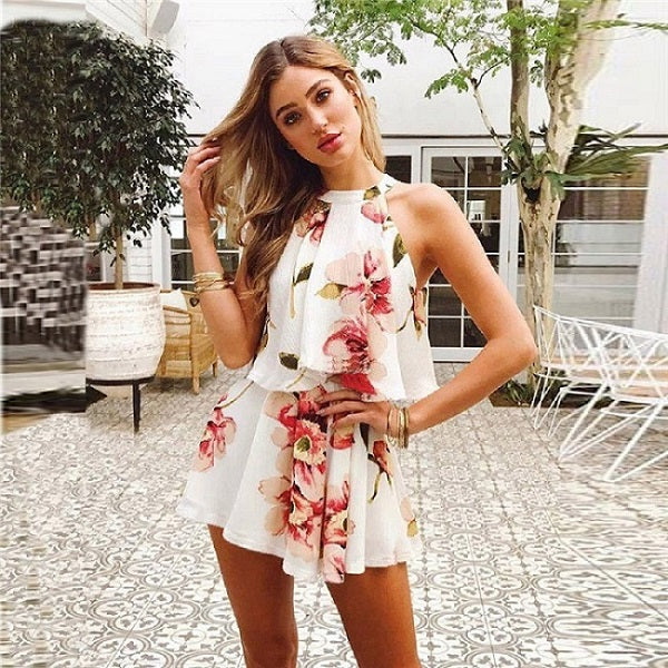 Ladies Floral Print Chiffon Playsuit Women Summer Sexy Off Shoulder Halter Sleeveless Boho Rompers Jumpsuit Beach Party Overalls-cigauy
