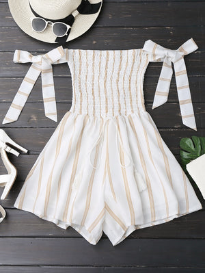 kenancy Striped Women Rompers Jumpsuits 2017 New Summer Playsuits Sexy Off Shoulder Self Tie Strapless Overalls Beachwear-cigauy