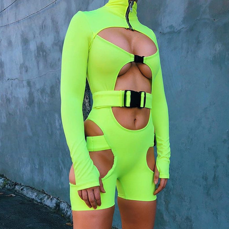 KGFIGU Women playsuits 2018 Fall long sleeve high neck Buckle rompers womens jumpsuits sexy cut out Overall streetwear Clothes-cigauy
