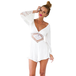 2018 New Women Jumpsuits Rompers Long Sleeve White Lace V Neck Short Pants Sexy Backless Summer Clothes #YL-cigauy