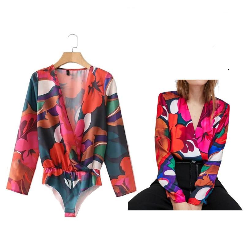 Women Long Sleeve Bodysuits Sexy Deep V Neck Overalls Floral Printing Office Buissness Bodysuits Collarless Rompers-cigauy