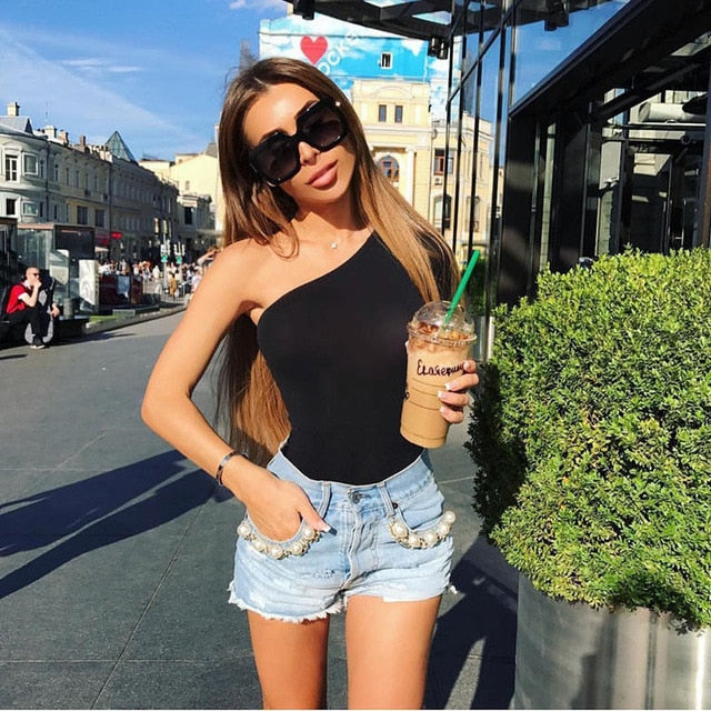 Sexy Women Clothes Slim Long Sleeve Bodycon One Shoulder Bodysuit Jumpsuit Short Romper Leotard Tops Women Clothing-cigauy