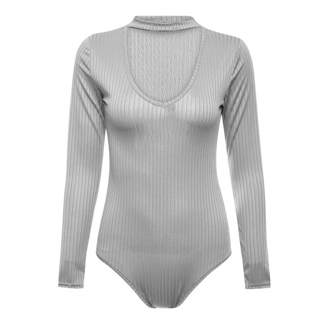Long Sleeve Knitted Bodysuit Women 2018 Jumpsuits Female Bodycon Body Suit Sexy Bodysuits Neckband Rompers Overalls Party Wear-cigauy