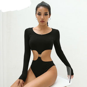 HEYounGIRL Sexy Black Bodysuit Women Patchwork Bodycon Long Sleeve Bodysuit Backless Cotton Body Feminino Hollow Out Jumpsuits-cigauy