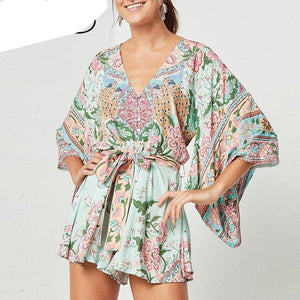 Everkaki Women Boho Rompers Summer Lotus Floral Print Playsuits With Sashes High Waist Gyps Bohemia Bodysuit Femme 2018 Jumpsuit-cigauy