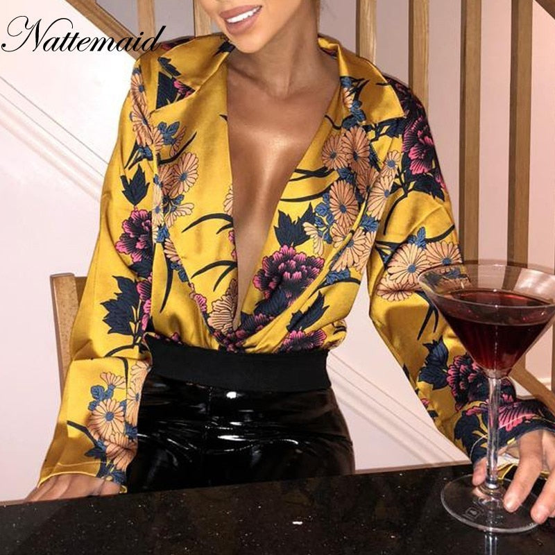 NATTEMAID Print Floral Sexy Bodysuit For Women 2018 Summer Rompers Womens Jumpsuit Long Sleeve Bodycon Party Chiffon Playsuit-cigauy