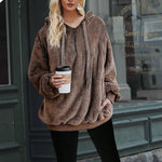 Simplee Hooded coral fleece pullover sweatshirt women Zipper warm solid long sleeve hoodies Casual loose plus size coat 2018-cigauy