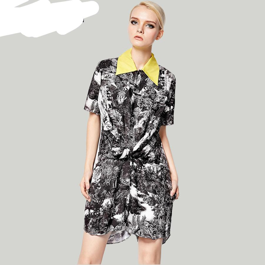Fashion Jumpsuit 2019 New Fashion Women's Casual Short-Sleeve Vintage Turn-down Collar Landscape Print Casual Jumpsuit-cigauy