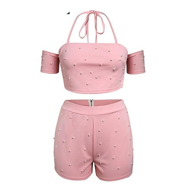 Glamaker Sexy halter strap two-piece suit autumn jumpsuit romper Women off shoulder combi playsuit bodycon jumpsuits&rompers-cigauy