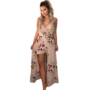 ForeFair Sexy V Neck Women Maxi Romper Plus Size Summer Blue Khaki Split Playsuits Autumn Female Jumpsuit-cigauy