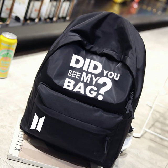New Kpop BTS chimmy BT21 Bangtan Boys Group The Same Canvas Student Bag Fashion Backpack 3 Colors Did You See My Bag-cigauy