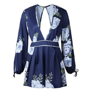 ForeFair Empire Floral Print Playsuit Women Sexy V Neck Summer Rompers Overalls with Open Back Female Short Jumpsuits-cigauy